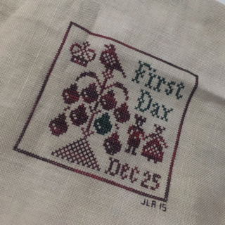 First Day | 12 Days of Christmas by Plum Street Samplers #christmas #12daysofchristmas #crossstitch