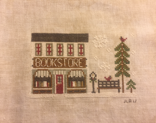 Little House Needleworks Bookstore #crossstitch #ornament #christmas