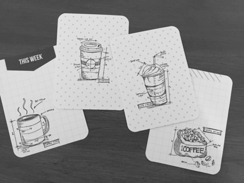 Tim Holtz coffee blueprint stamps