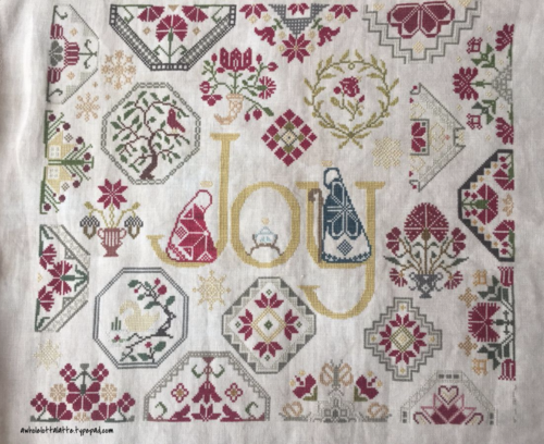 Joy Quaker Sampler #crossstitch #sampler #christmas #quaker